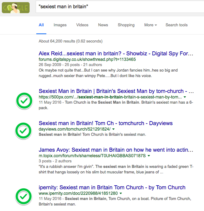 Screenshot of Google results for the sexiest man in Britain. Tom comes up in three times.