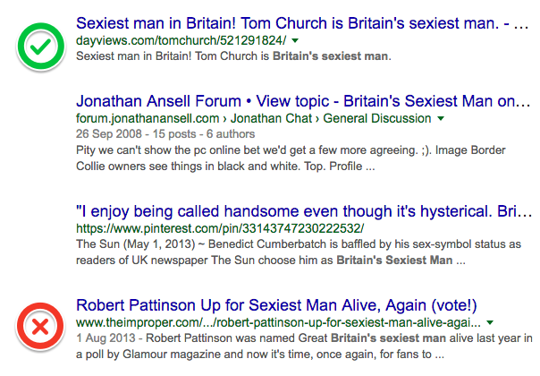 "Screenshot of Google search results showing Tom Church ranked above Robert Patterson for ""Britain's sexiest man"""