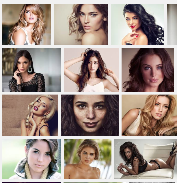 "Google image results for ""beautiful woman""... Not exactly natural."